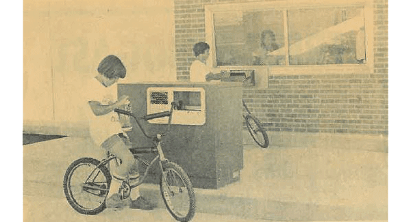 Kids using our drive-thru on their bikes in 1979.