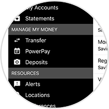 Screenshot of mobile banking screen