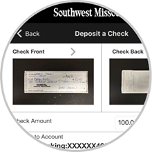 Screenshot of mobile deposit screen