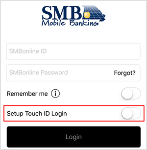 Screenshot of mobile fingerprint login